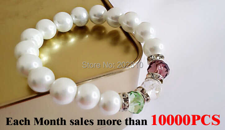 {fine quality new model romantic 10MM white pearl mix multicolor crystal bracelet & bangle with plated-silver for girls