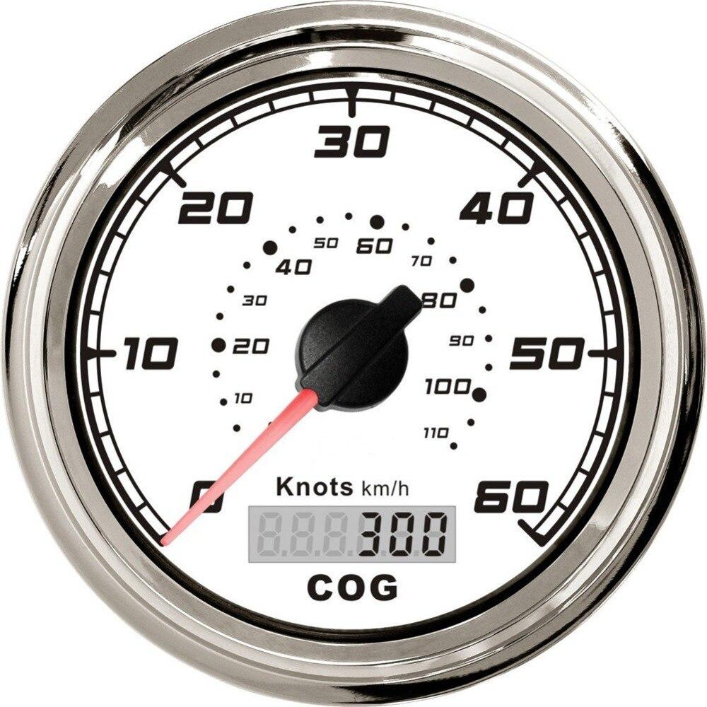 1 pièce blanc GPS compteurs de vitesse 0-60noeuds 12 v/24 v indicateurs de vitesse 85mm LCD miléomètres de vitesse 0-110 km/h avec antenne pour bateau