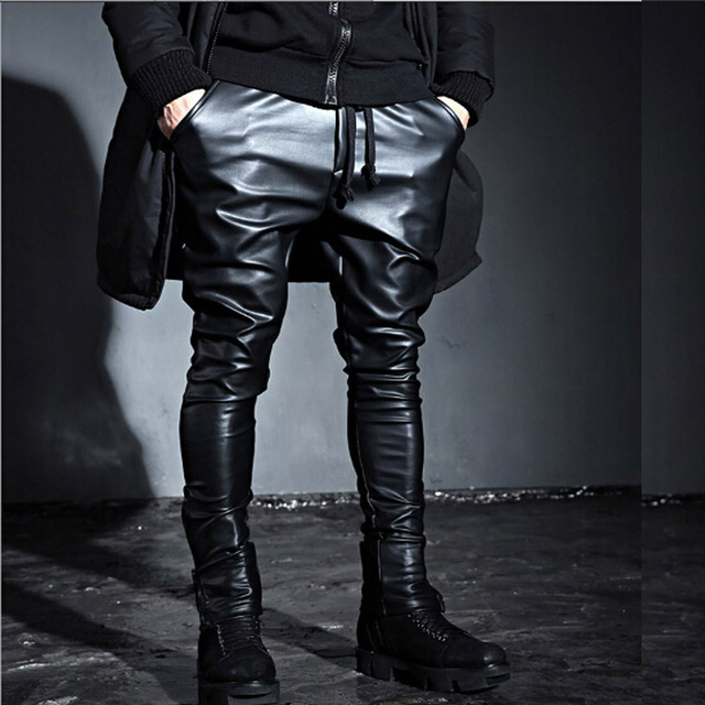 Fashion Men's Punk Rock Armor Simple PU Faux Leather Tie Zip Ankle Pants  Long Trousers Full Length Pants M-2XL 5