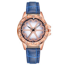 Women's Casual Quartz Leather Band Lucky Flower Rhinestone Watch New Fashion Leather Strap Women Rhinestone Clock Dropship(China)