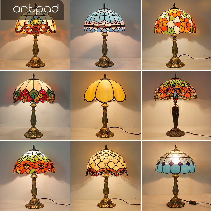 Artpad Mediterranean Style Mosaic Table Lamp Mosaic Stained Glass Shade E27 LED Retro Bedroom Bedside Light
