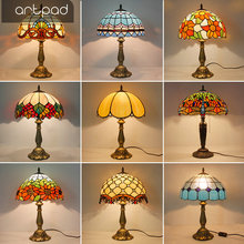 Artpad Mediterranean Style Mosaic Table Lamp Stained Glass Shade E27 LED Retro Bedroom Bedside Light Turkish Lamps