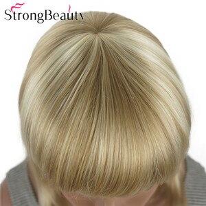Image 5 - StrongBeauty ישר סינטטי פאות בינוני ארוך שיער עם פוני מסודר נשים פאת רבים צבעים