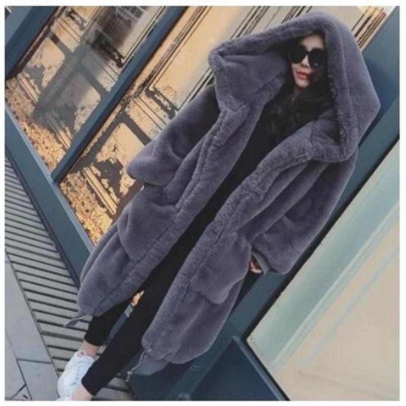 Imitation À Fausse Gray De Capuchon Manteau En Et Style 2018 Hiver Nouveau Mode Longue Fourrure black Nzyd1226 Chaud Lapin Veste Faux Femmes TqIvOA