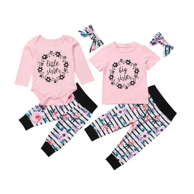 e1e69d35230 Detail Feedback Questions about Family Clothes Set Sister Newborn Baby Girls  Floral Long Sleeve Romper T shirt Striped Floral Pants Headband Outfits Set  on ...