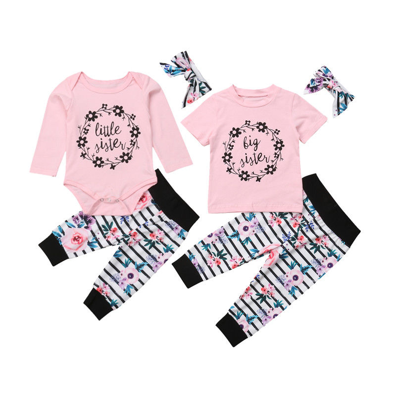 Popular Brand Newborn Baby Girl Sister Matching Clothing Suit Cotton Clothes Print Letter Casual Romper Tops Skirts Headband Set 0-5t Mother & Kids