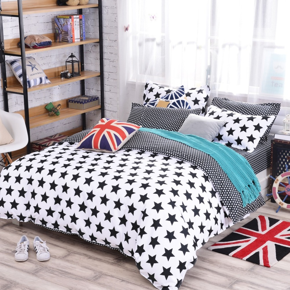 Galaxy style Yellow 3/4pcs Polyester Bedding Sets Printing Stars Zebra Bedspread Duvet Cover Set Home Kids Room Bed Sheet