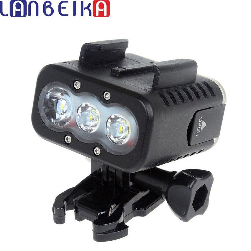 LANBEIKA Remplir Lumière Sous-Marine Plongée 50 m Étanche Flash LED Remplissez Lampe Mont pour GoPro Hero 7 6 5 4 3 + SJCAM SJ6 SJ7 SJ5000