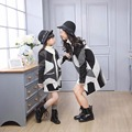 New family Overcoat clothes for mother and daughter striped matching clothes family look mommy and me outfits clothing girl coat