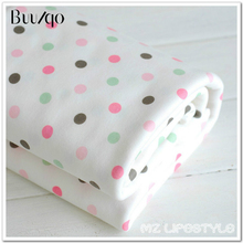 50*170cm 100 cotton knitting  baby bib clothes fabric coated bedding cloth children printed dots cotton fabric