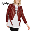 Hodoyi PU Leather Colorful Black Biker Jacket Zipper Belt Ladies Short Biker Outwear Autumn Slim Cropped Women Motorcycle Coat