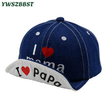 New Casual Summer Children Baseball Caps Autumn Boys Girls Sun Hat I Love MAMA PAPA Cotton Baby Soft Eaves Kids Cap