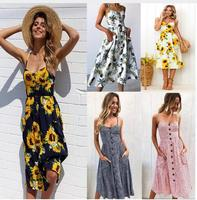 NuoJin Spaghetti Strap Floral Print Summer Dress Women Plus Size Party Dresses Casual Long Dress With Pockets 2018 Vestidos