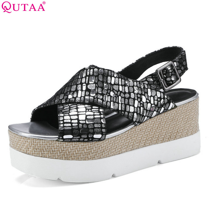 QUTAA 2018 Women Sandals Shep Skin Women Shoes Platform Casual Wedges Heel Peep Toe Westrn Style Women Sandals Size 34-42 phyanic 2017 gladiator sandals gold silver shoes woman summer platform wedges glitters creepers casual women shoes phy3323