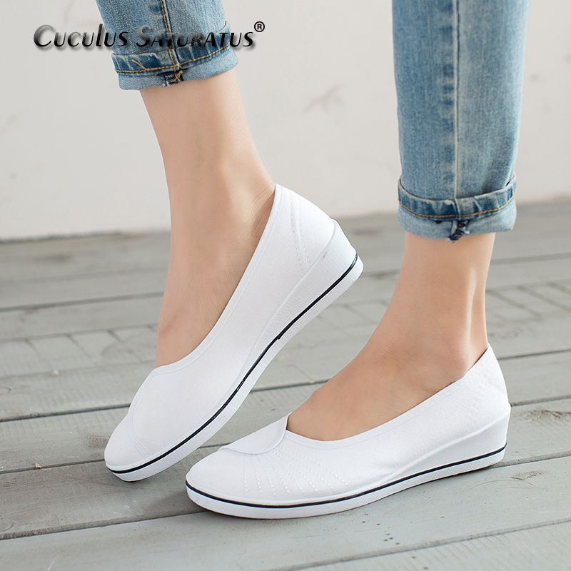 Cuculus Women Loafers Soft Slip On Canvas Flats Shoes Woman Solid Casual Breathable Shoe For Mother Platform Shoes 804 summer women casual shoes breathable mother shoes women flat platform soft comfortable braided shoes light loafers for woman