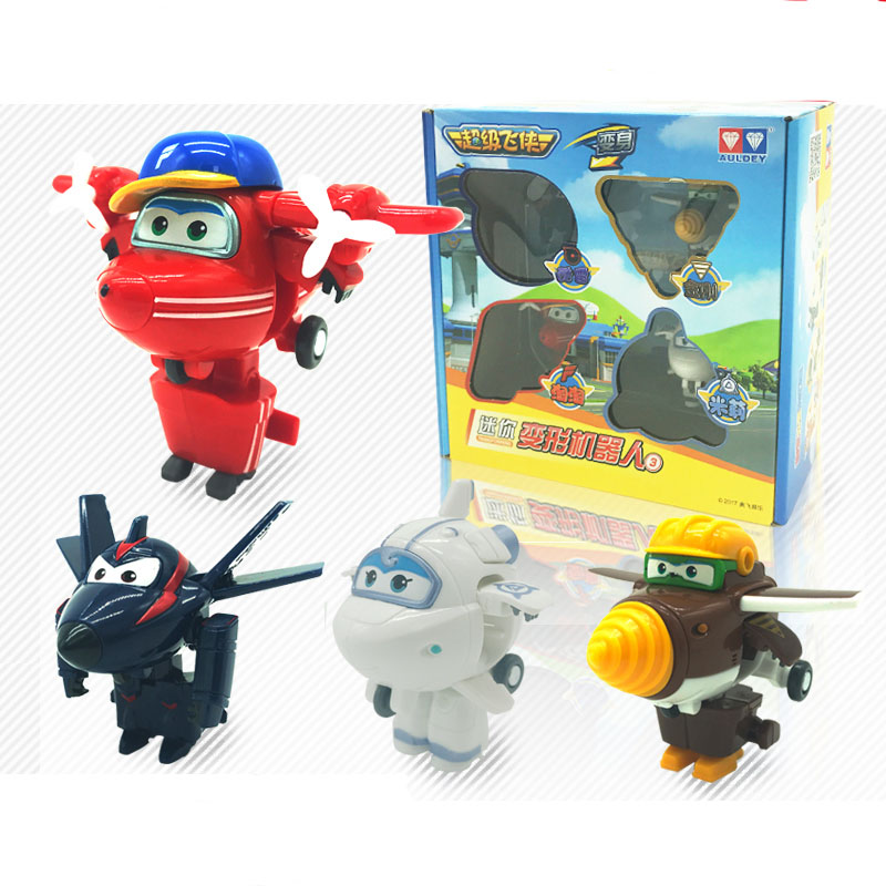 new pack!!! 4 pcs/pack 7 cm Mini Super Wings Transformation Deformation Robot Action Figures child Toys Gift superwings