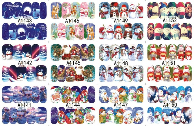 12 Sheets XMAS Nail Art Water Transfer Sticker Full Cover Decals Merry Christmas Snowman Stickers Wrap Tip Decoration A1141-1152
