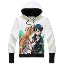 Cartoon Sword Art Online Asuna Yuuki Kirito Hoodie Hoody Coat  for Teens