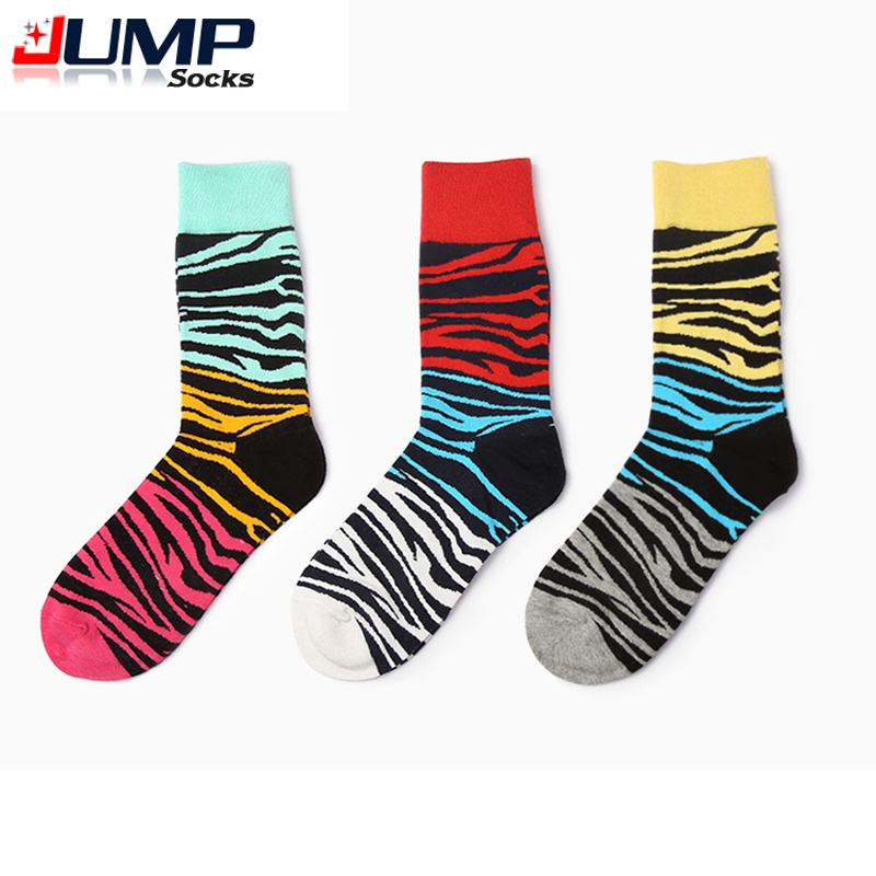 Hot Sell Brand Mens Socks 80% Cotton Zebra stripes Novelty Socks for men 3 Color ...