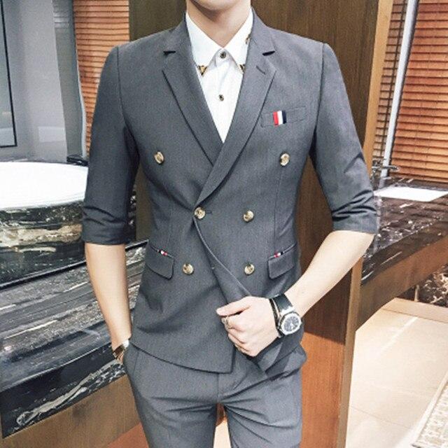 Man Wedding Suits 2017 Summer Men's Sets Tuxedo Formal Fashion Slim Fit Business Dress Suits Blazer Party Suits (Jacket+Pant)