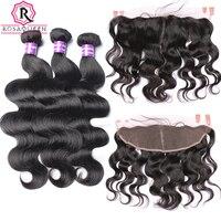 13x4 Lace Frontal Closure Body Wave Brazilian Hair Weave 4 Pcs 3 Human Hair Bundles With