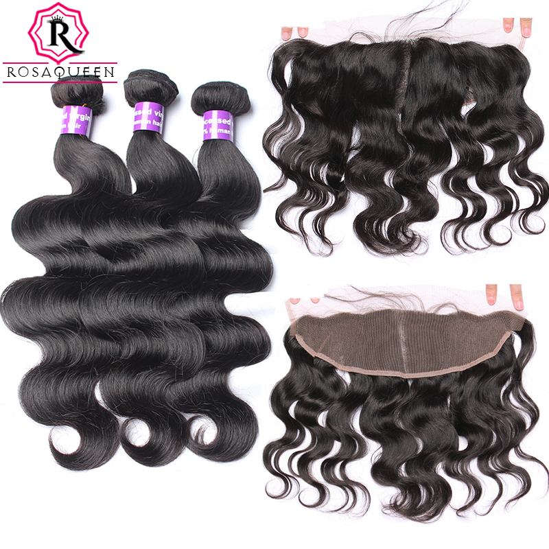 Body Wave Bundles With Closure 3 4 PCS Brazilian Human Virgin Hair With Bundles 13X4 Lace Frontal Rosa Queen Hair Products