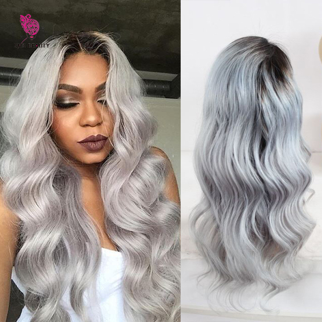 72708e2cb Custom Ombre Human Hair Lace Front Wig Brazilian Grey Full Lace Human Hair  wigs With Dark Roots silver gray front lace wigs