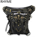 RHYME Fashion Gothic Steampunk Skull Retro Rock Bag Men Women Waist Bags Shoulder Bolso Phone Case Holder Messenger Sac