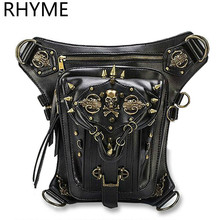 RHYME Fashion Gothic Steampunk Skull Retro Rock Bag Men Women Waist Bags Shoulder Bolso Phone Case Holder Messenger Sac