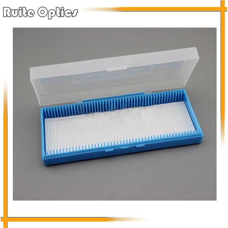 2PCS Portable Lab ABS Plastic Microscope Slides Holder Dispenser Box 50pcs Diapositivas