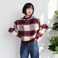 2018 New Fall Fleece Chic Loose Wild Shirt Tide Round Collar Winter Coat Women Plaid Vintage