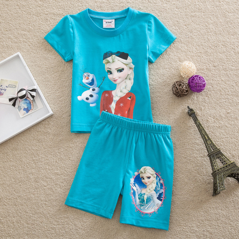 new 2018 summer casual children girls clothing sets fashion cartoon baby girls&boys costume shorts kids clothing set suit