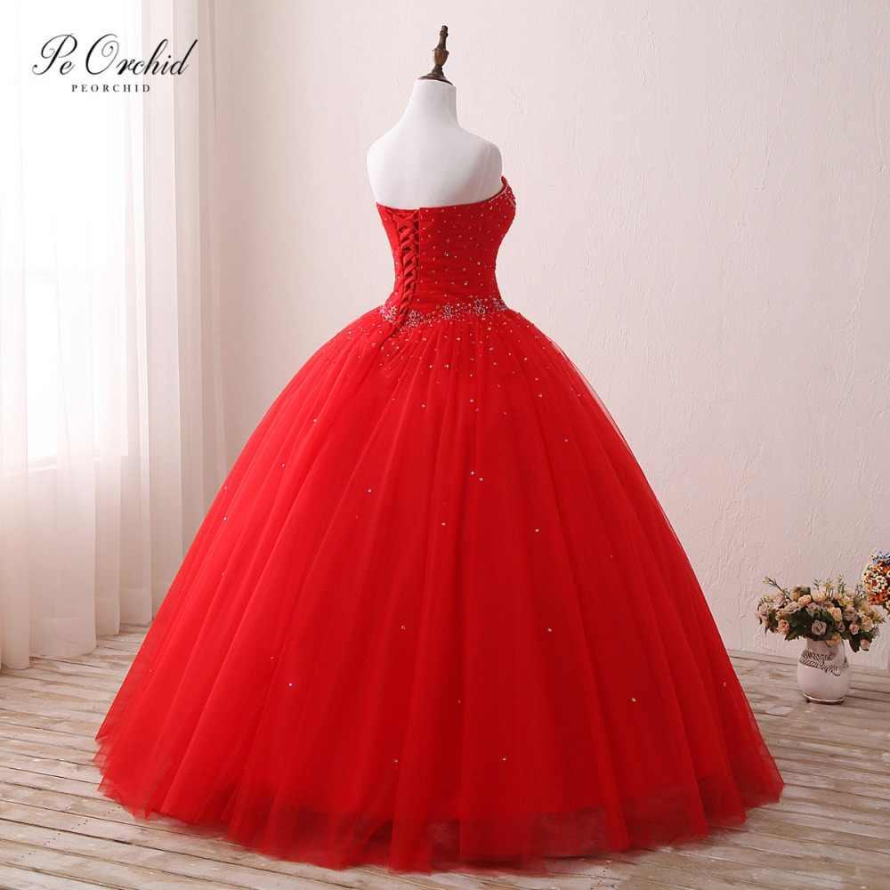 PEORCHID Vestido דה נשף טול אדום כדור שמלת Quinceanera שמלות מתוק שש עשרה נפוח חרוזים Masquerade שמלה לנשף 2019