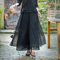 New Women Casual Wide Leg Pants Summer Spring Mid Waist Elegant Chiffon Palazzo Trousers Ankle Length Ladies Pleated Skirt Pants