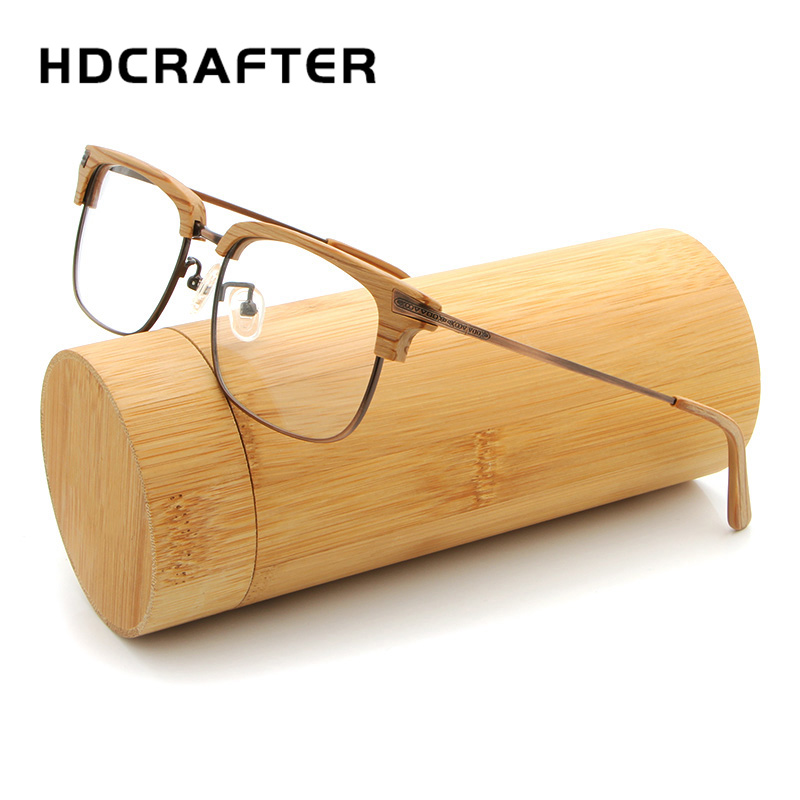 HDCRAFTER Brand Designer Wooden Glasses Frames With Clear Lens Plates Eyeglasses Frame Women Men Computer Reading Plain Glasses
