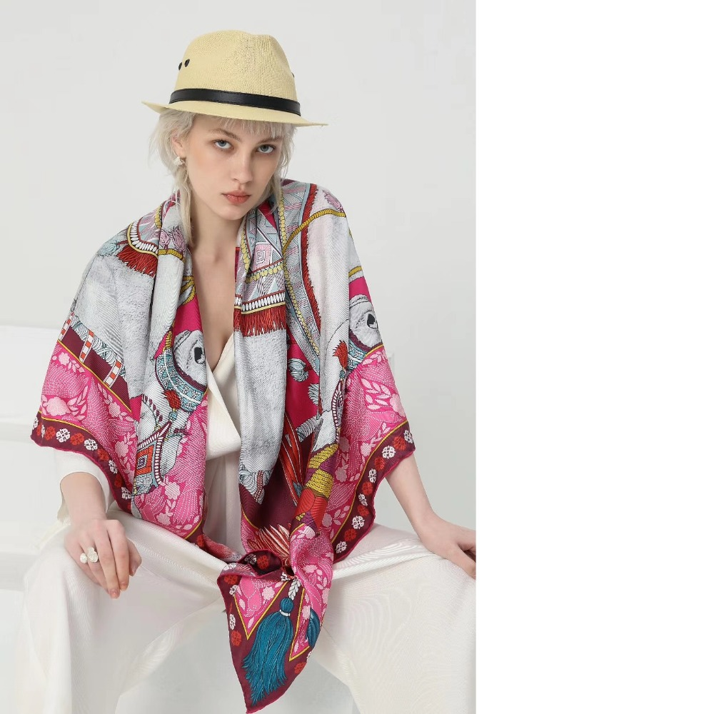 """53"""" Luxury 100% Silk Scarf Shawl Women Top Grade Large Square Silk Scarves Wraps For Party Perfect Gifts"""