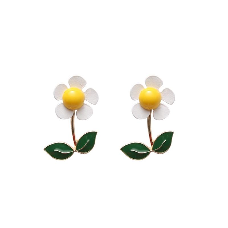 925 Silver Japan Sweet Daisy Leaf Stud Earrings Detachable Dual Use Cute Flower Irregular Earings for Women Girls Casual Jewelry