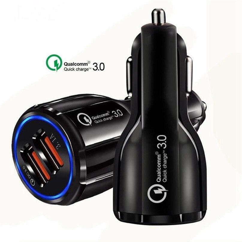 100pcs 3 1a QC3 0 Dual USB Car Charger Adapter BLUE LED light 2USB Fast Charging