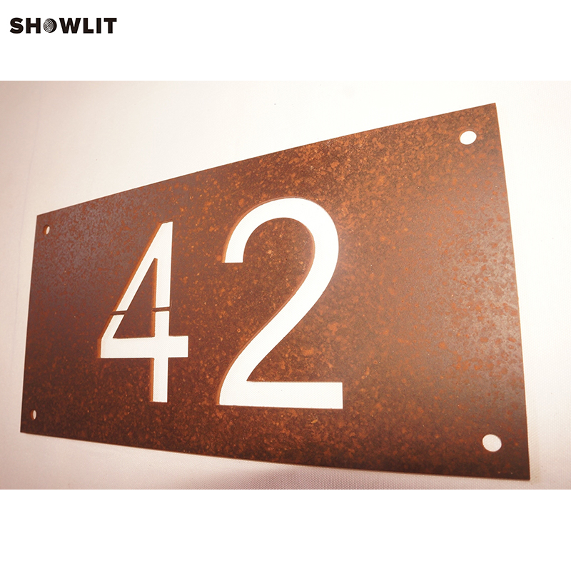 Personalised Laser Cut House Number Address Plate In Rusted Steel цены