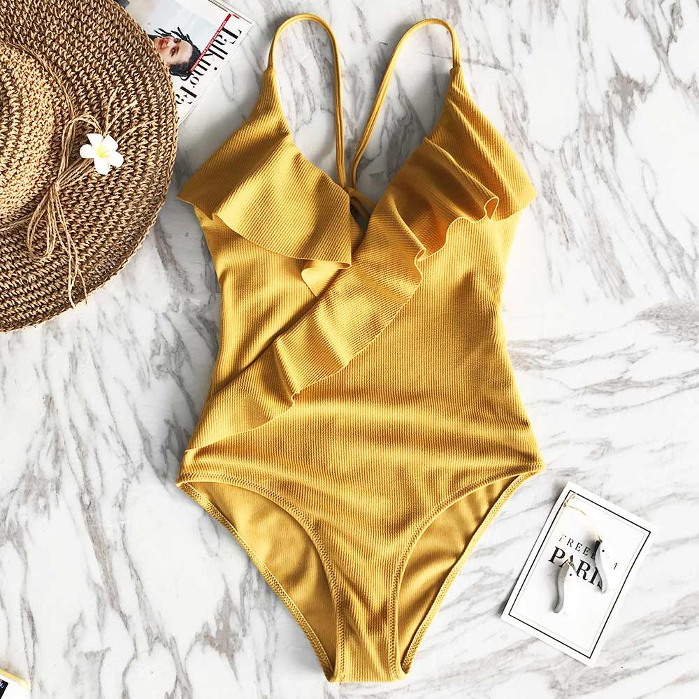 19e102b9f0 CUPSHE Happy Ending Yellow Solid One-piece Swimsuit Falbala V neck Ruffle  Sexy Monokini 2019
