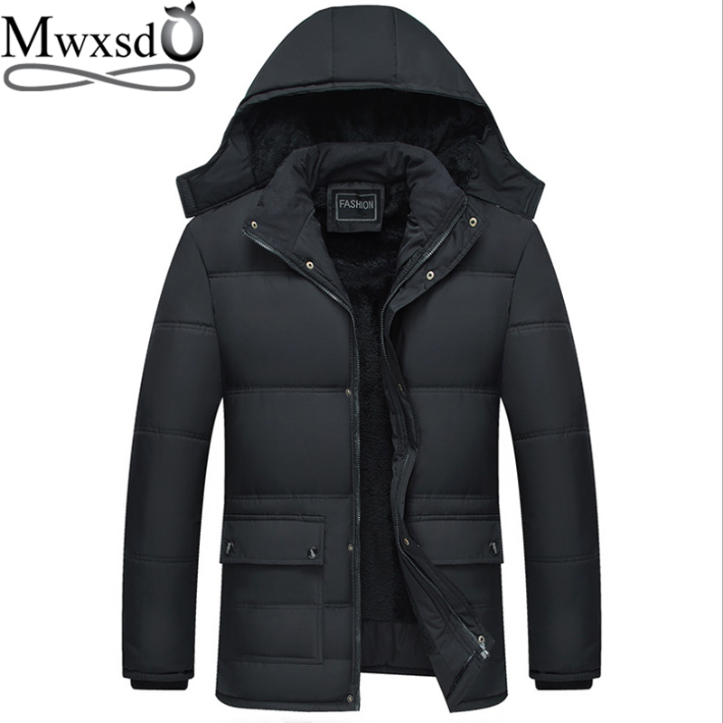 Mwxsd brand winter men's thick warm   parka   jacket and coat men thick Padded fur coat male stand collar overcoat
