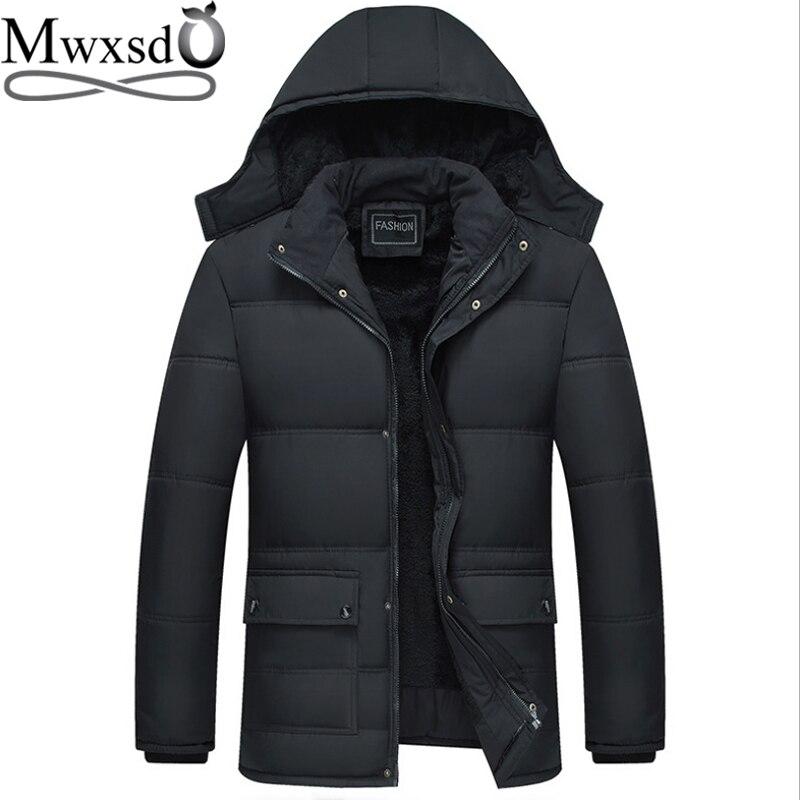 Mwxsd ブランド冬のメンズ厚く暖かいパーカージャケットとコート男性厚いパッド入り毛皮のコートの男性スタンド襟オーバーコート    グループ上の メンズ服 からの パーカー の中