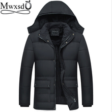 Mwxsdブランド冬のメンズ厚く暖かいパーカージャケットとコート男性厚いパッド入り毛皮のコートの男性スタンド襟オーバーコート