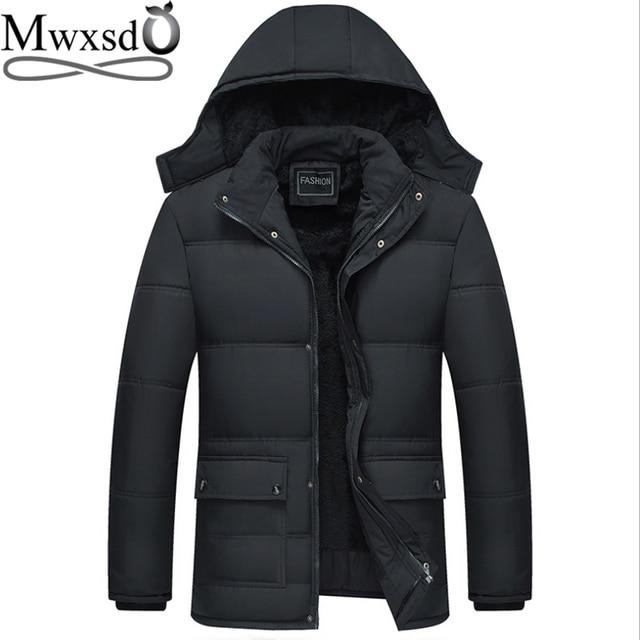 Mwxsd 브랜드 겨울 남성 두꺼운 따뜻한 파카 재킷과 코트 남자 두꺼운 패딩 모피 코트 남성 스탠드 칼라 오버 코트