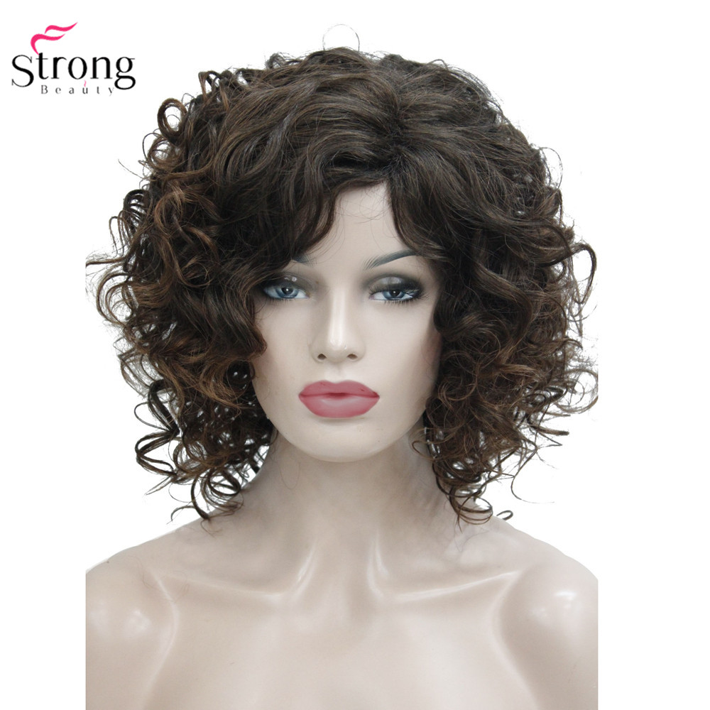 Image 3 - StrongBeauty Medium Curly Wig Hair Brown Women's Synthetic Capless Wigs Natural-in Synthetic None-Lace  Wigs from Hair Extensions & Wigs