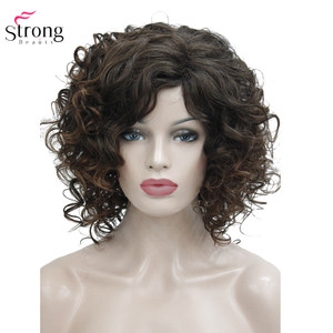 Image 3 - StrongBeauty Medium Curly Wig Hair Brown Womens Synthetic Capless Wigs Natural