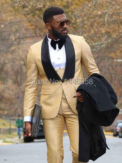2018 カスタム男性服ビジネススーツ衣装スリムフィットカジュアルなデザインシャンパンウェディングスーツ新郎タキシード男性の結婚式のスーツ