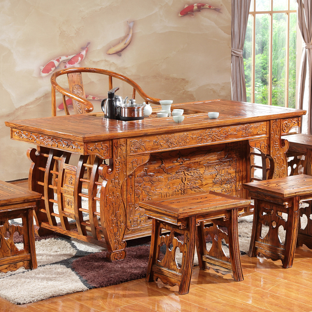 Merveilleux Antique Chinese Elm Wood Tea Table Simple Tables And Chairs Combination  Palace Teasideend