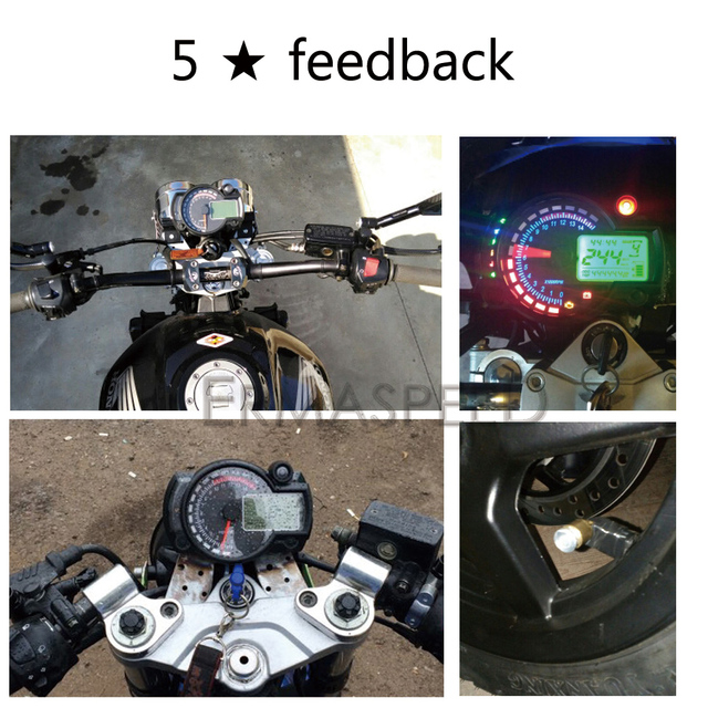 7 Colors 15000rpm Motorcycle LCD Digital Speedometer Tachometer Odometer Instrument Adjustable for Cruiser Chopper Cafe Racer