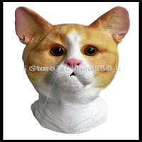 New Halloween Cosplay Party Cat Mask Realistic Halloween Full Head Animal Cat Mask Latex Cat Mask With Wholesale price on sale